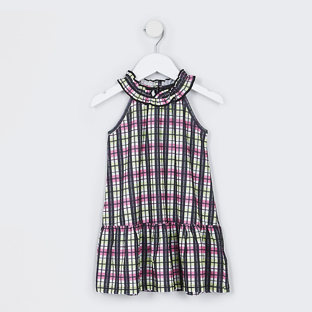 Mini girls pink check dress