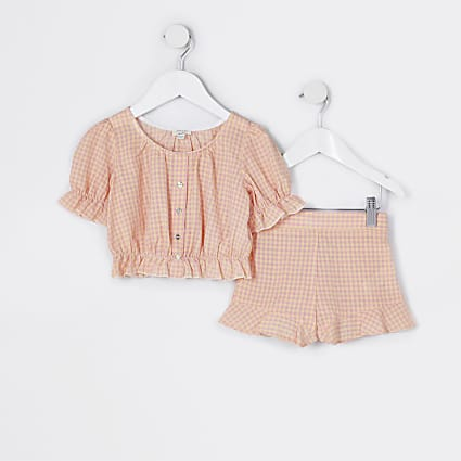 Mini girls pink check print outfit