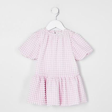 Mini girls pink check puff sleeve smock dress