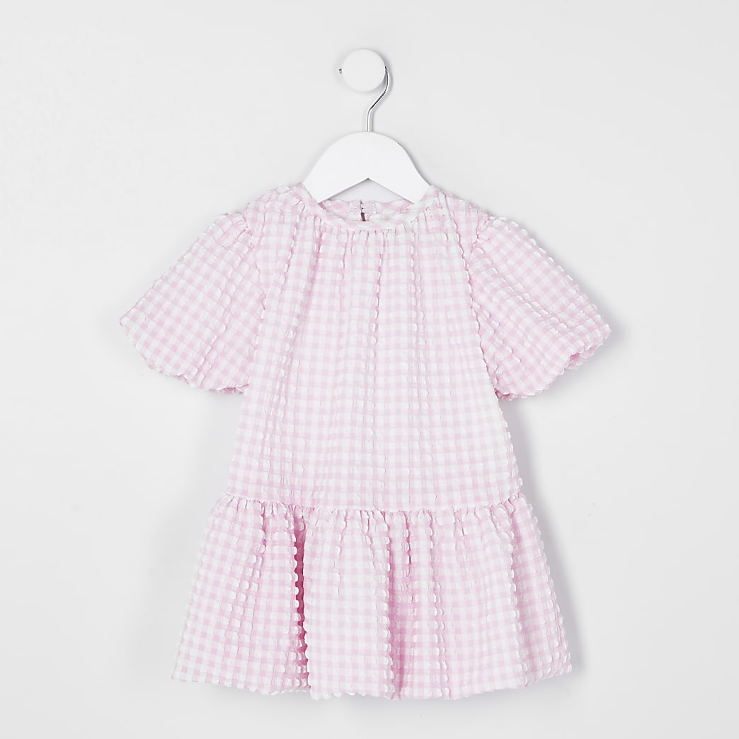 Mini girls pink check puff sleeve smock dress