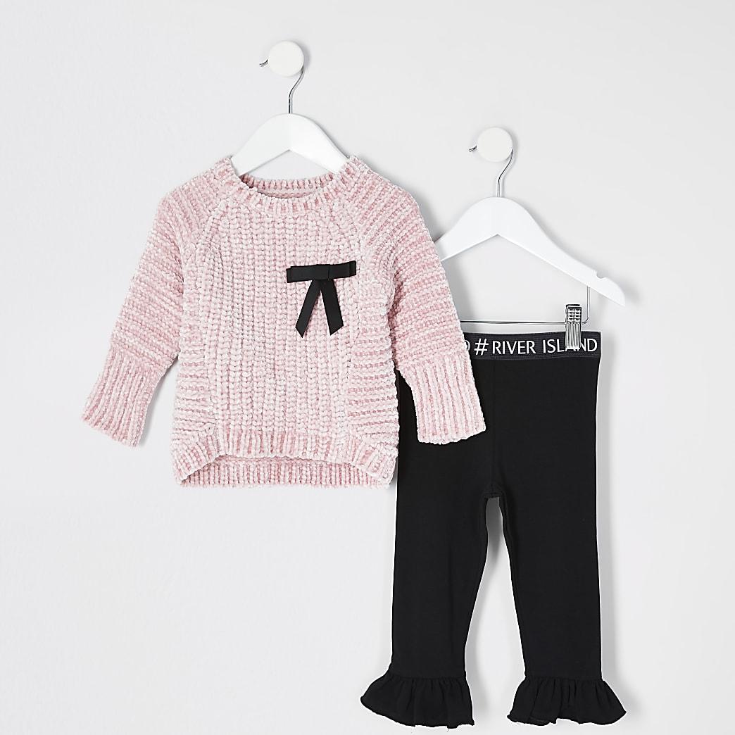 Mini - Roze trui outfit met chenille-strik voor meisjes