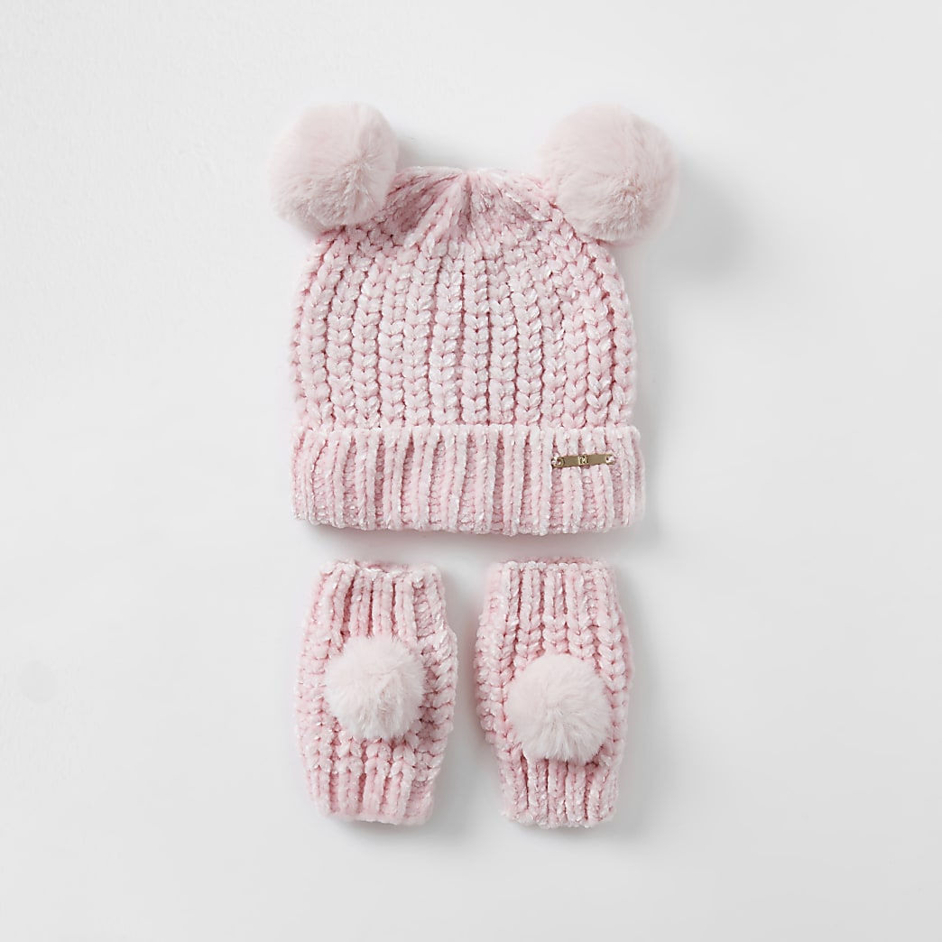 Mini girls pink chenille hat and glove set