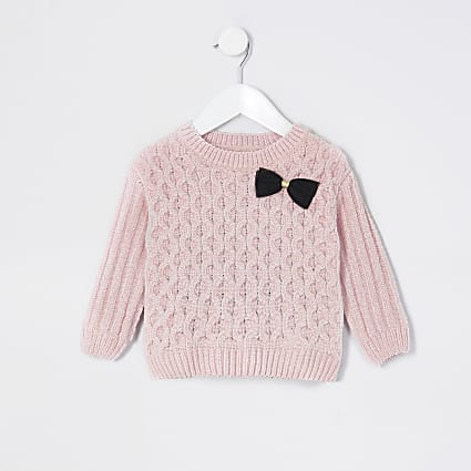 Mini girls pink chenille jumper
