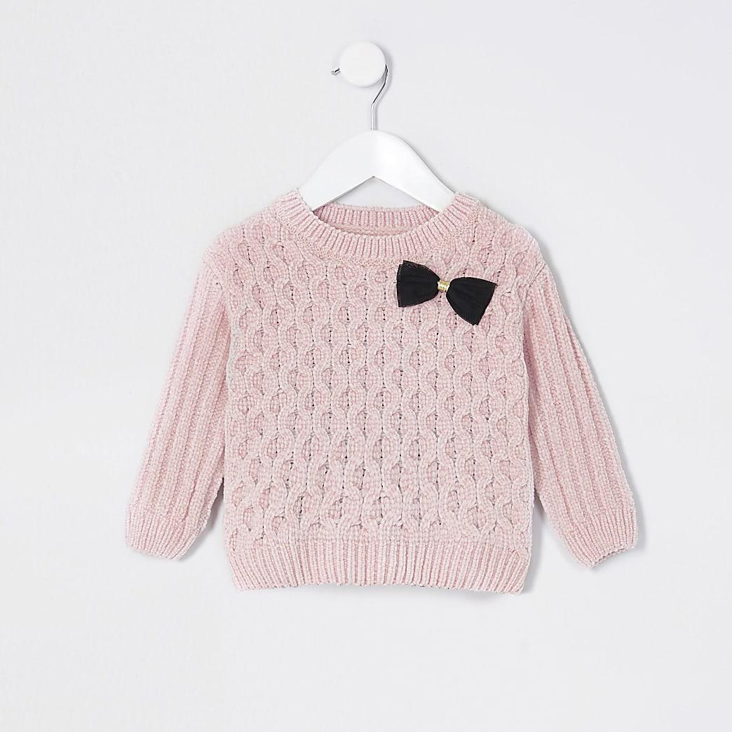 Mini girls pink chenille jumper
