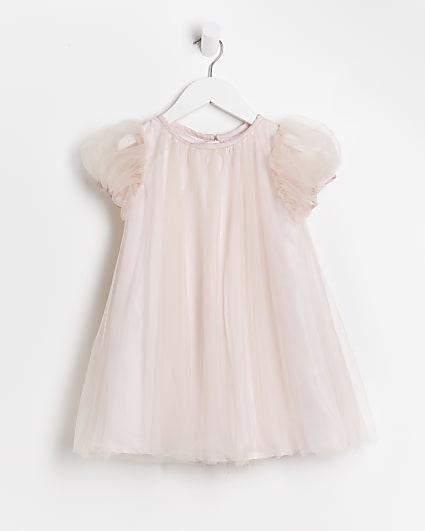 Mini girls pink Chi Chi mesh dress
