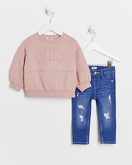 Mini girls pink 'Chic' sweatshirt and jeans