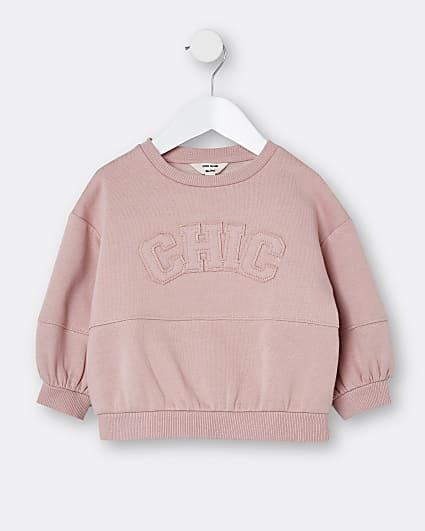 Mini girls pink chic sweatshirt