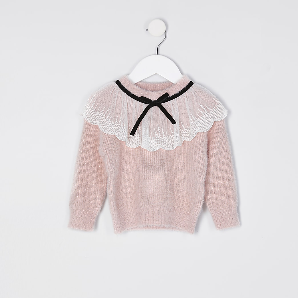 Mini girls pink collar detail jumper