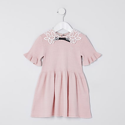 Mini girls pink collar jumper dress