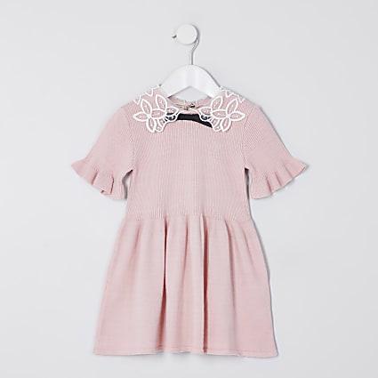 Mini girls pink collar jumper dress