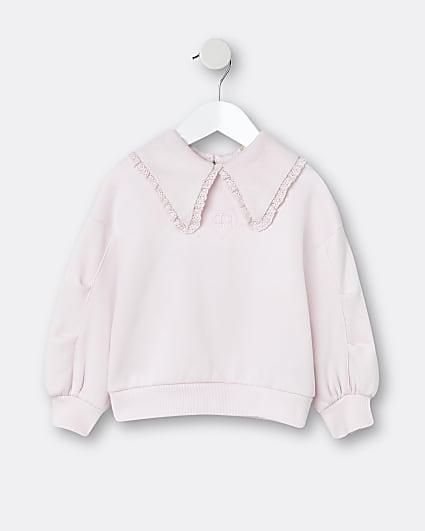 Mini girls pink collared sweatshirt