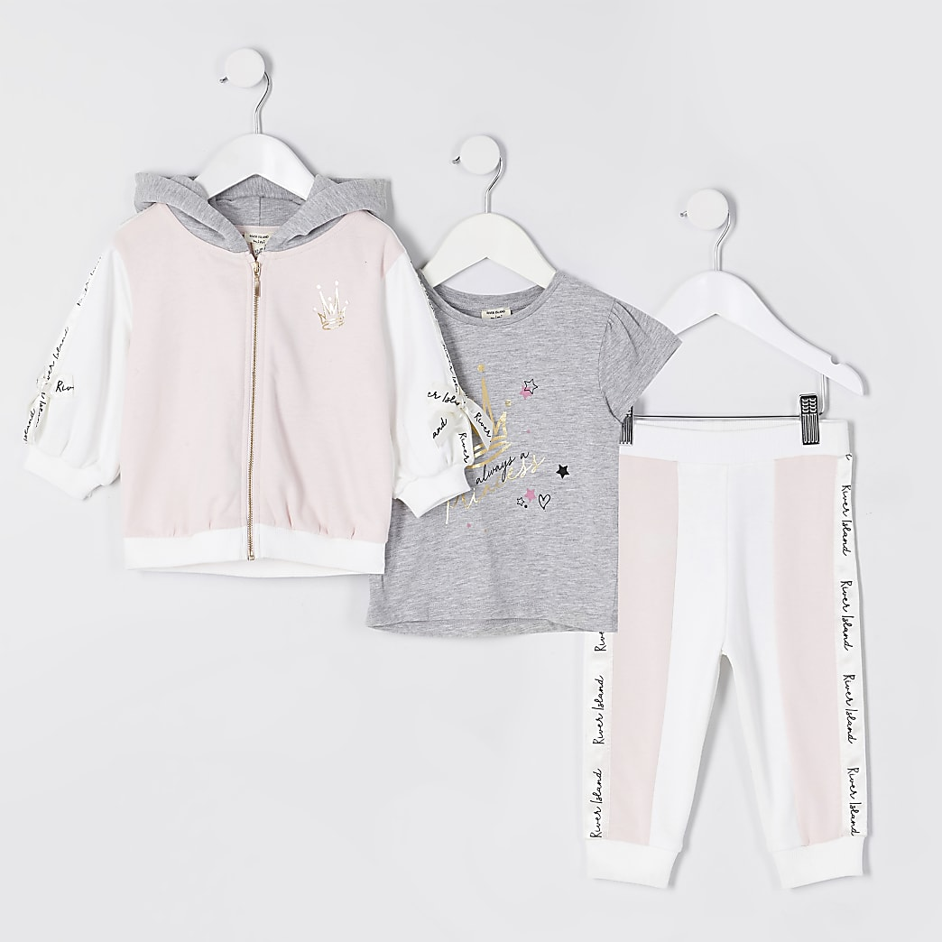 Mini girls pink colour block 3 piece outfit