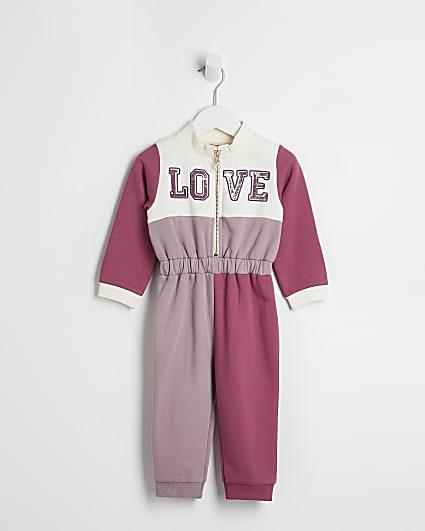 Mini girls pink colour block cinch jumpsuit
