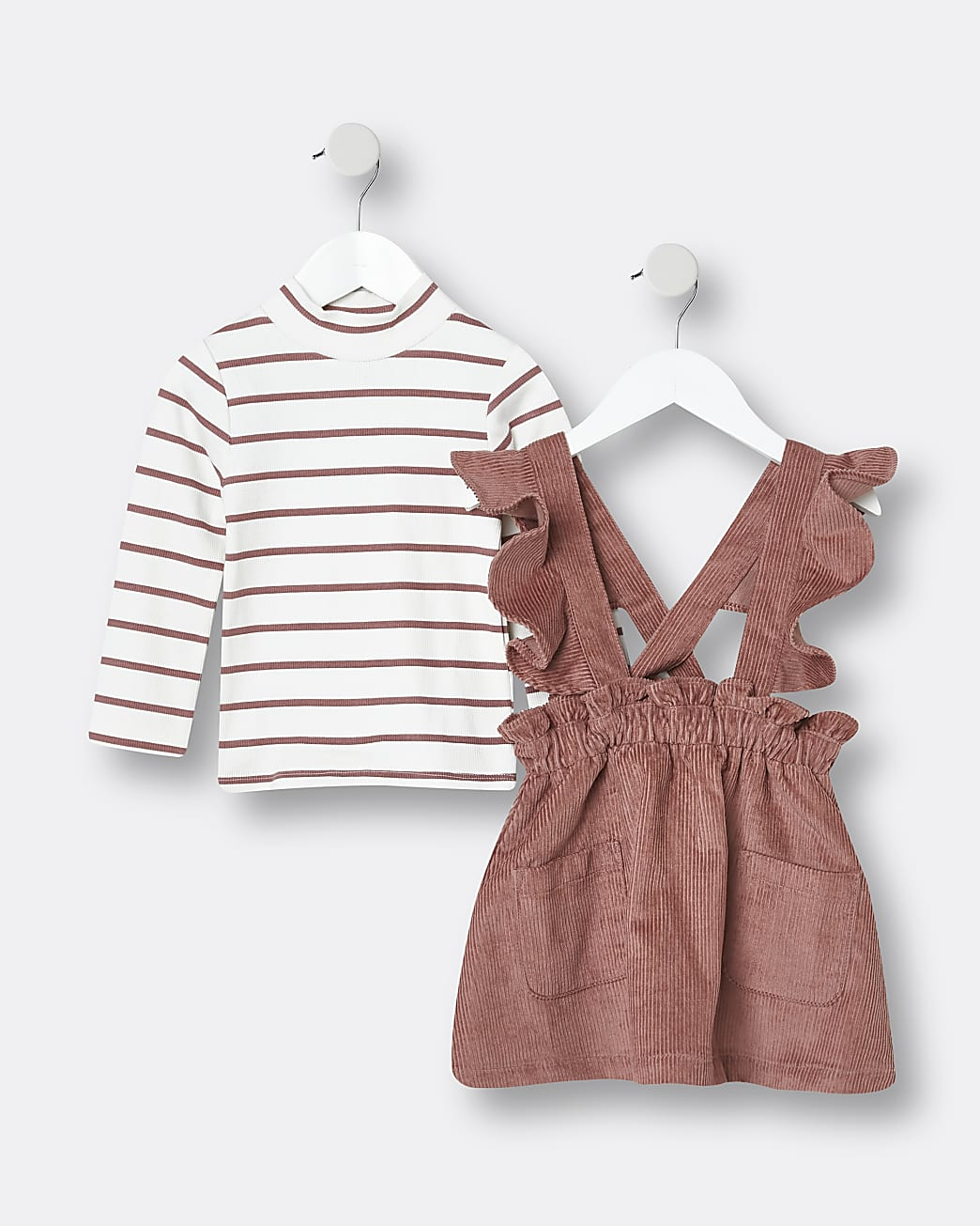 Mini girls pink cord pinafore and t-shirt set