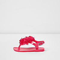 Mini girls pink corsage jelly sandals