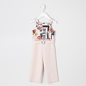 Mini - Roze 'Couture' jumpsuit met bloemenprint voor meisjes