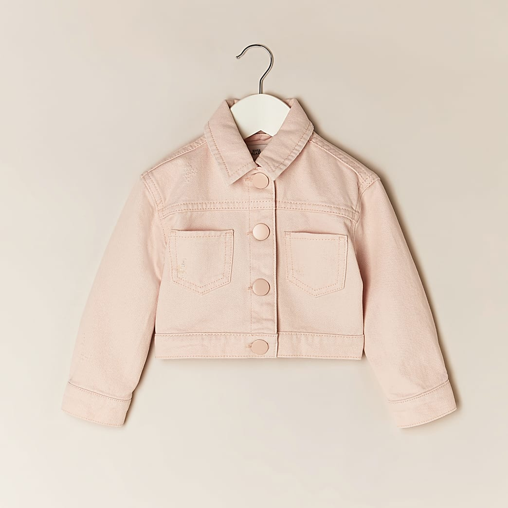 Mini girls pink cropped denim jacket