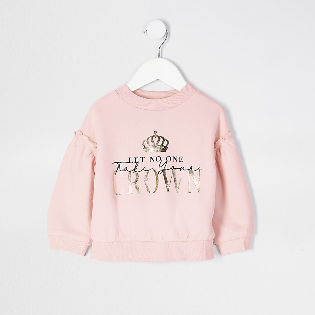 Mini girls pink crown slogan sweatshirt