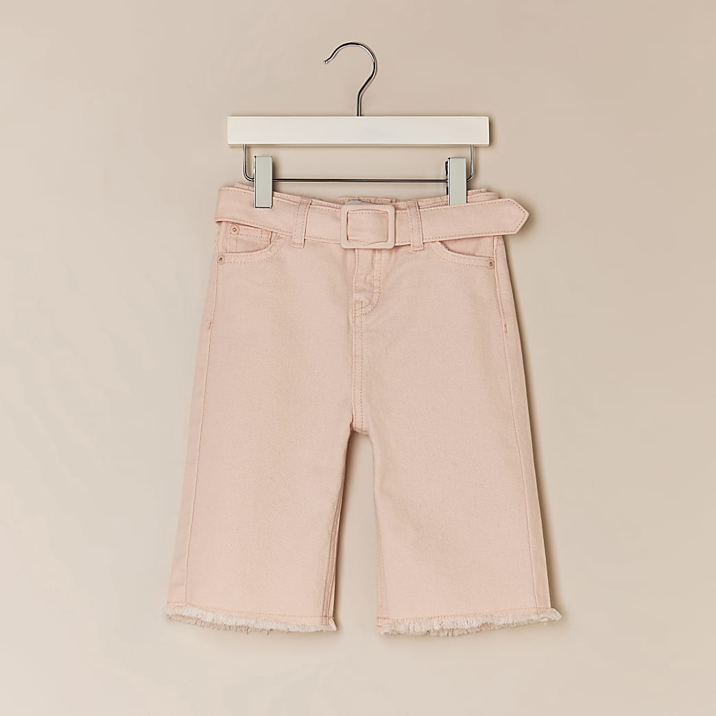 Mini girls pink denim culottes