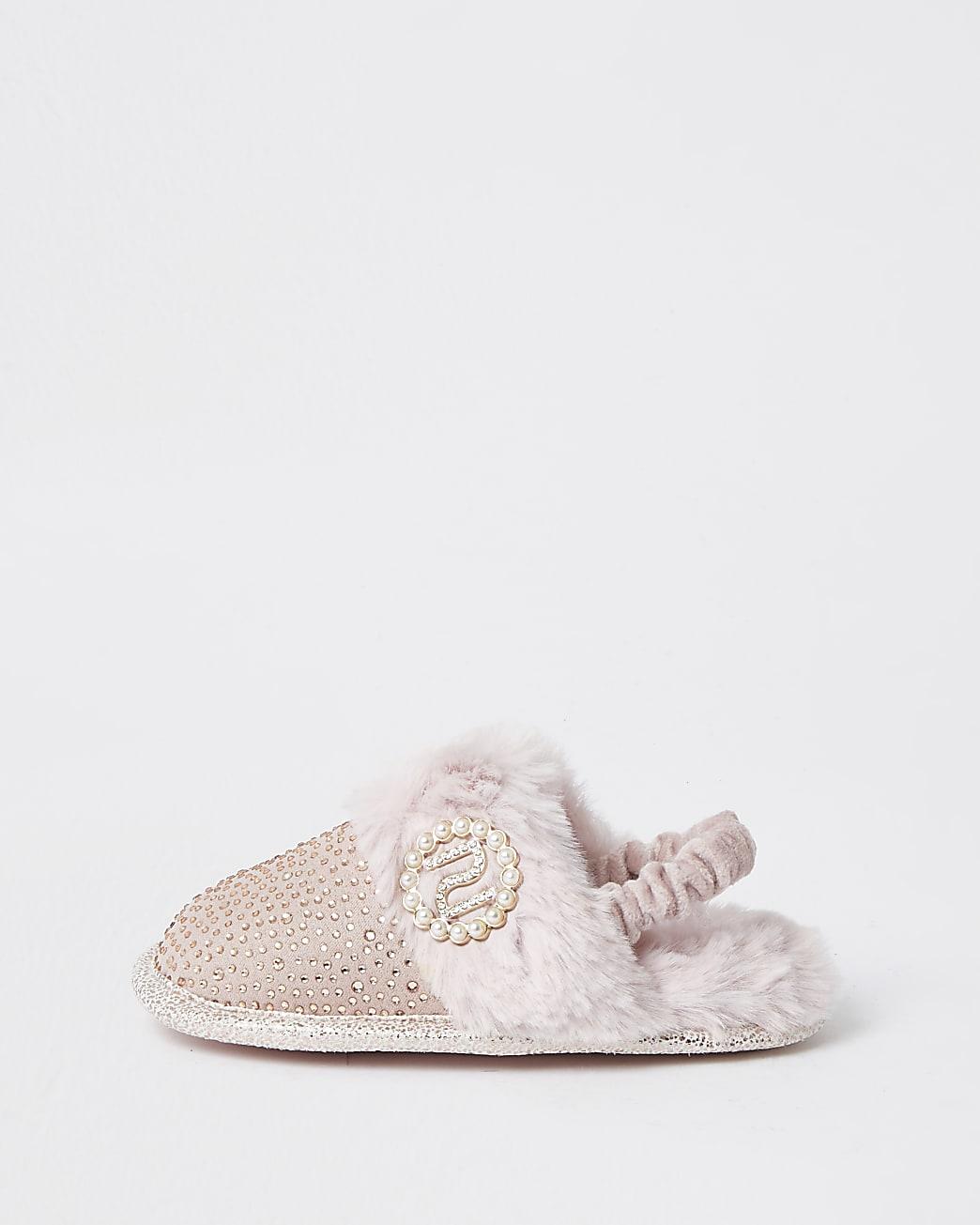 Mini girls pink diamante glam slippers
