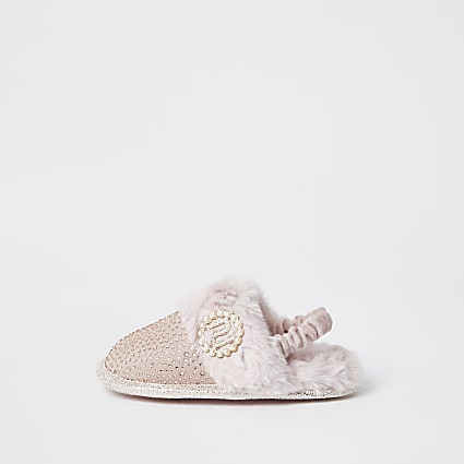 Mini girls pink diamante glam slippers