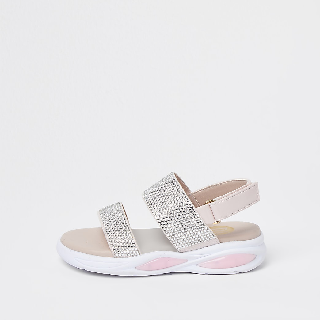 Mini girls pink diamante strap sandals
