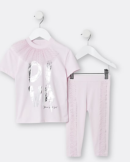 Mini girls pink 'Diva' mesh frill t-shirt set