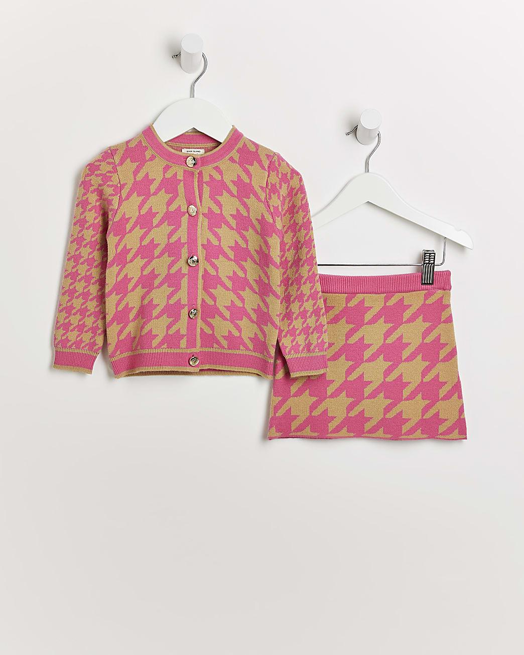 Mini girls pink dogtooth cardigan and skirt
