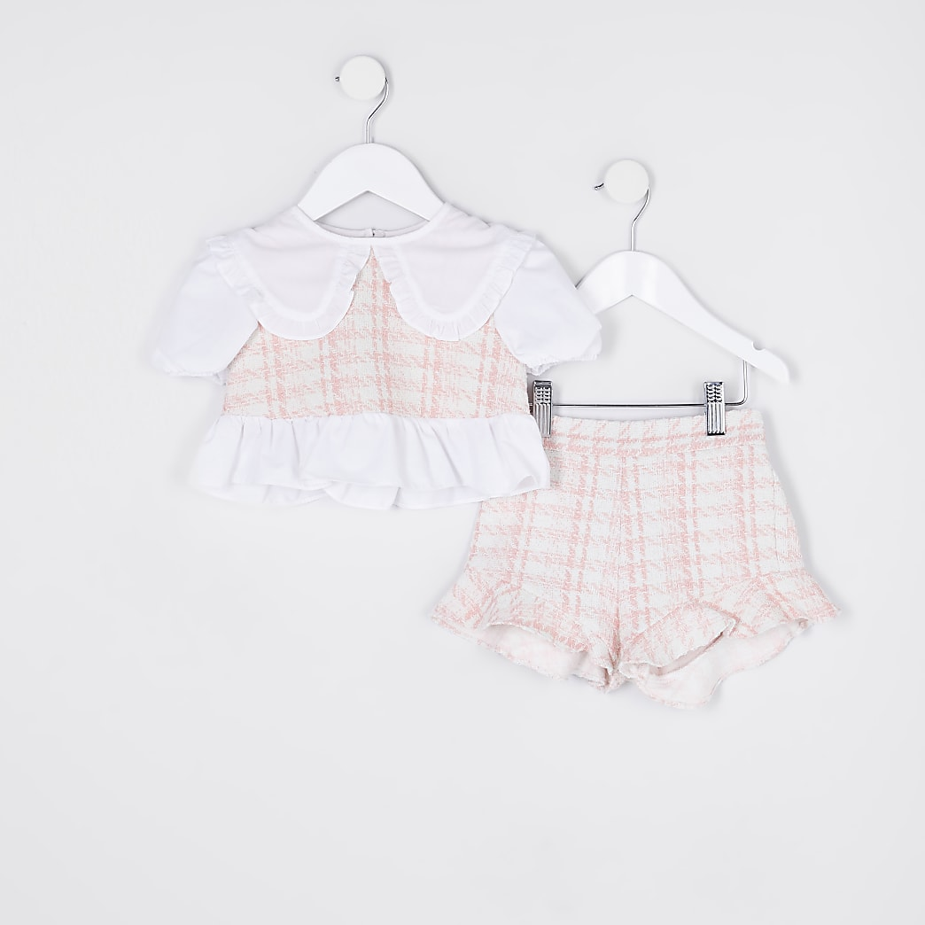 Mini girls pink dogtooth top and short outfit