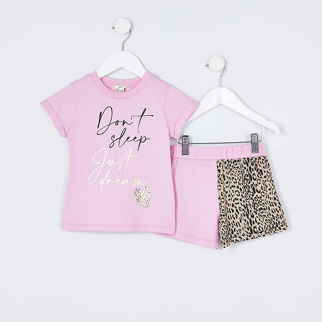 Mini girls pink 'Don't sleep' pyjamas set