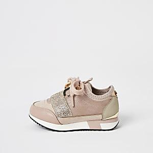 Mini girls pink elasticated diamante trainers