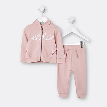 Mini girls pink ELLE hoodie and joggers set