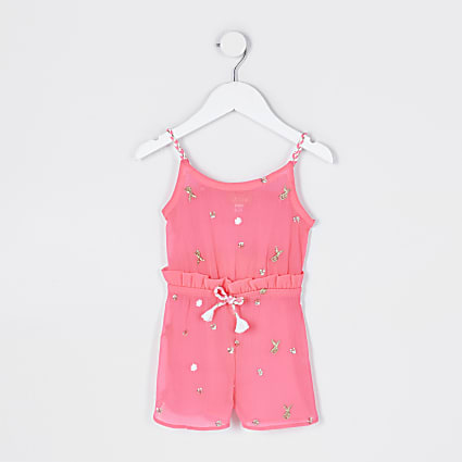 Mini girls pink embellished beach playsuit