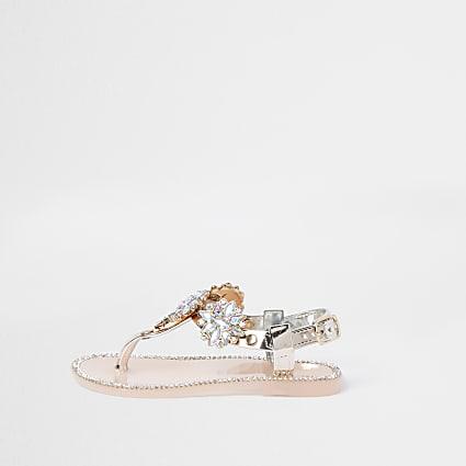 Mini girls pink embellished jelly sandal