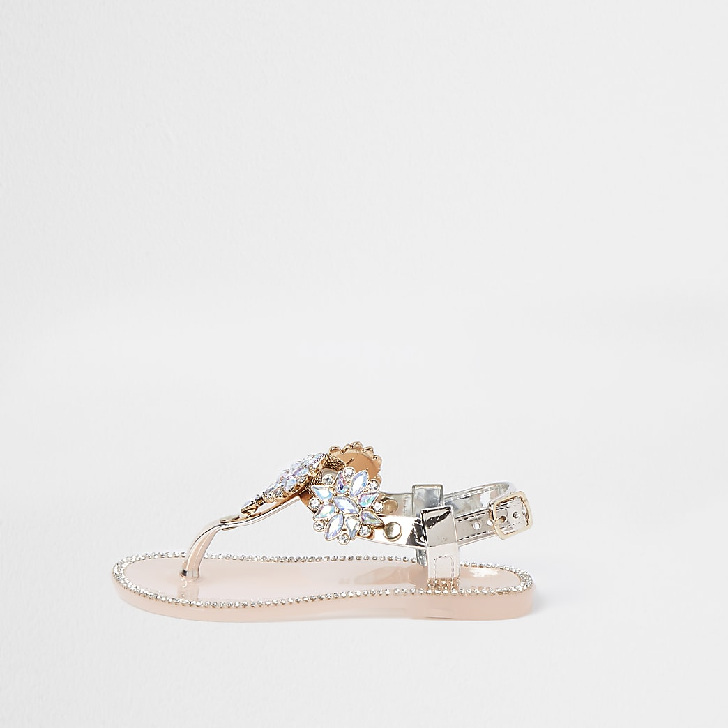 Mini girls pink embellished jelly sandal