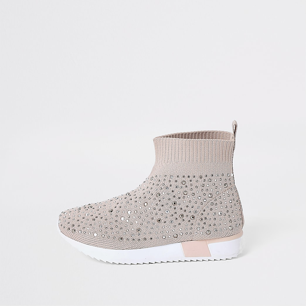 Mini girls pink embellished sock trainers