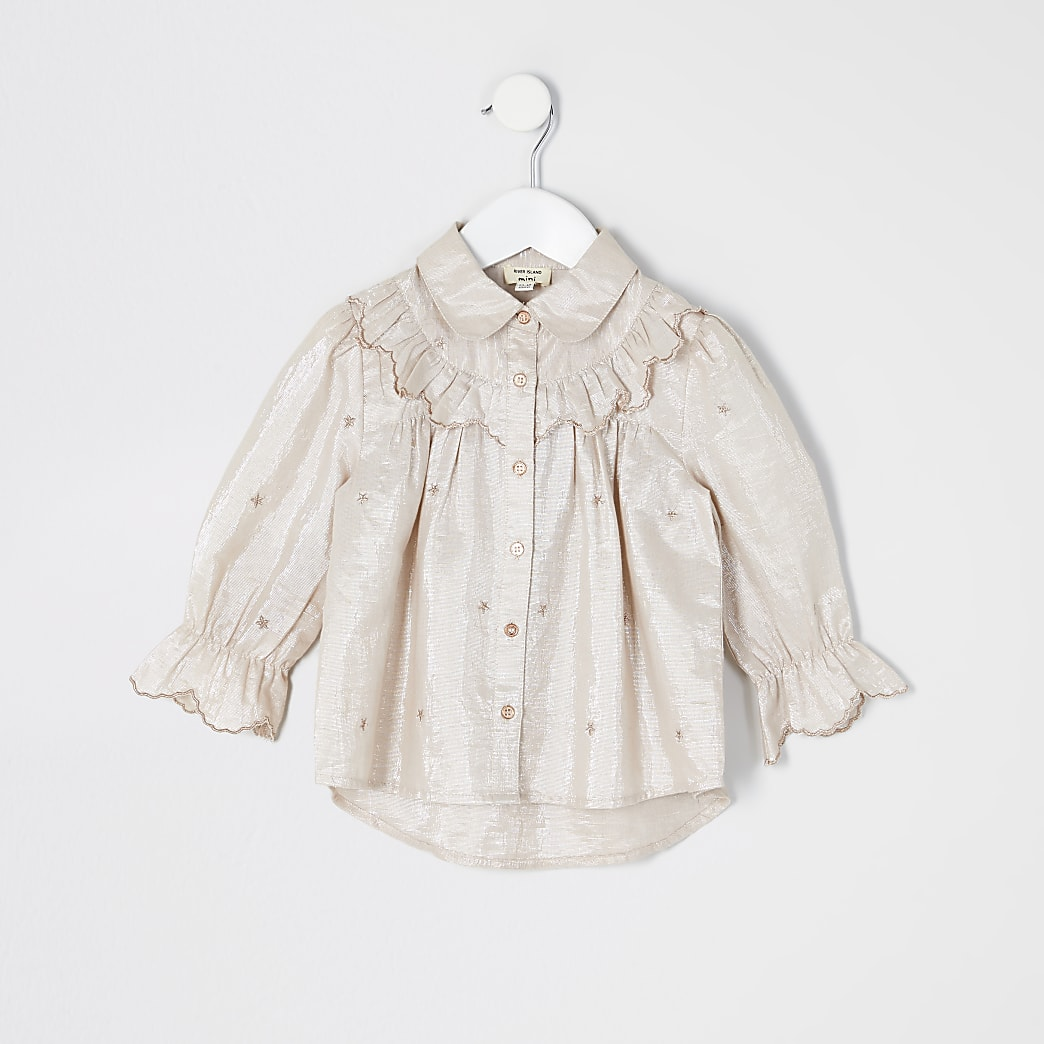Mini girls pink embroidered frill shirt