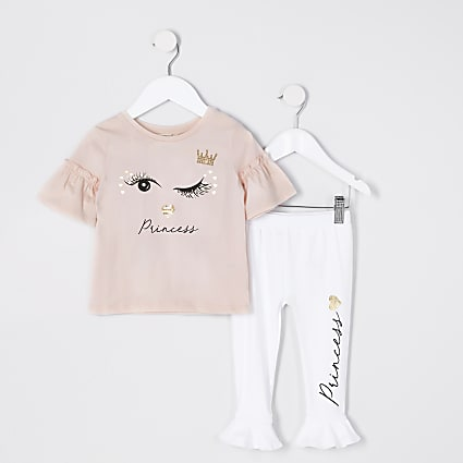 Mini girls pink eyelash print T-shirt outfit