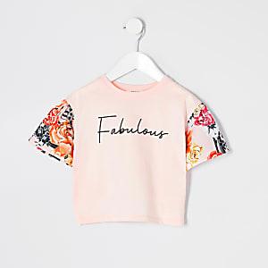 Mini - Roze T-shirt met 'Fabulous'-tekst en bloemenprint voor meisjes