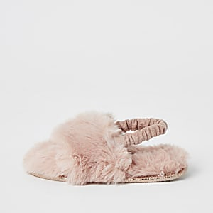Mini girls pink faux fur diamante slippers