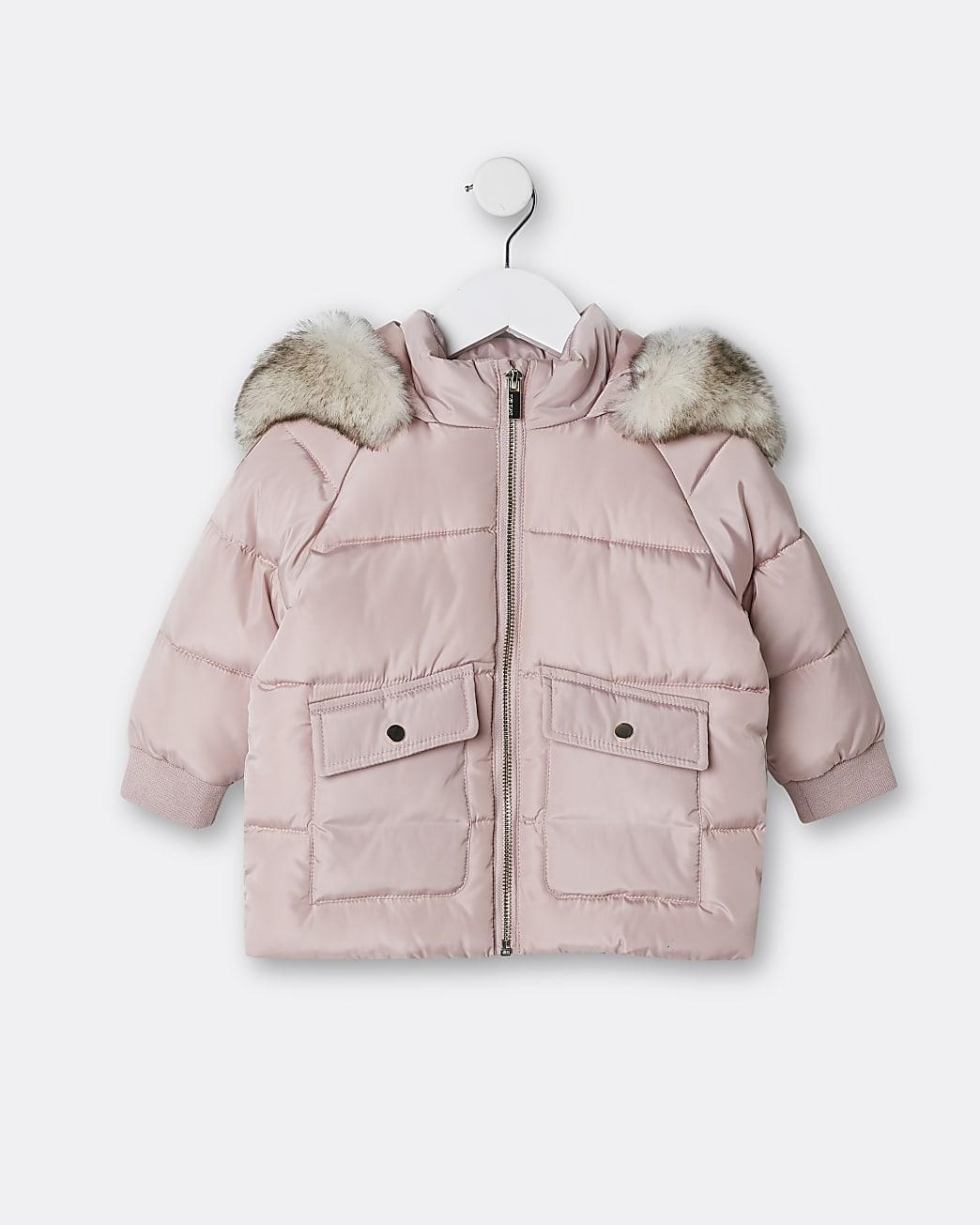Mini girls pink faux fur hood puffer coat