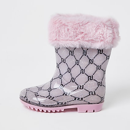 Mini girls pink faux fur monogram welly boot