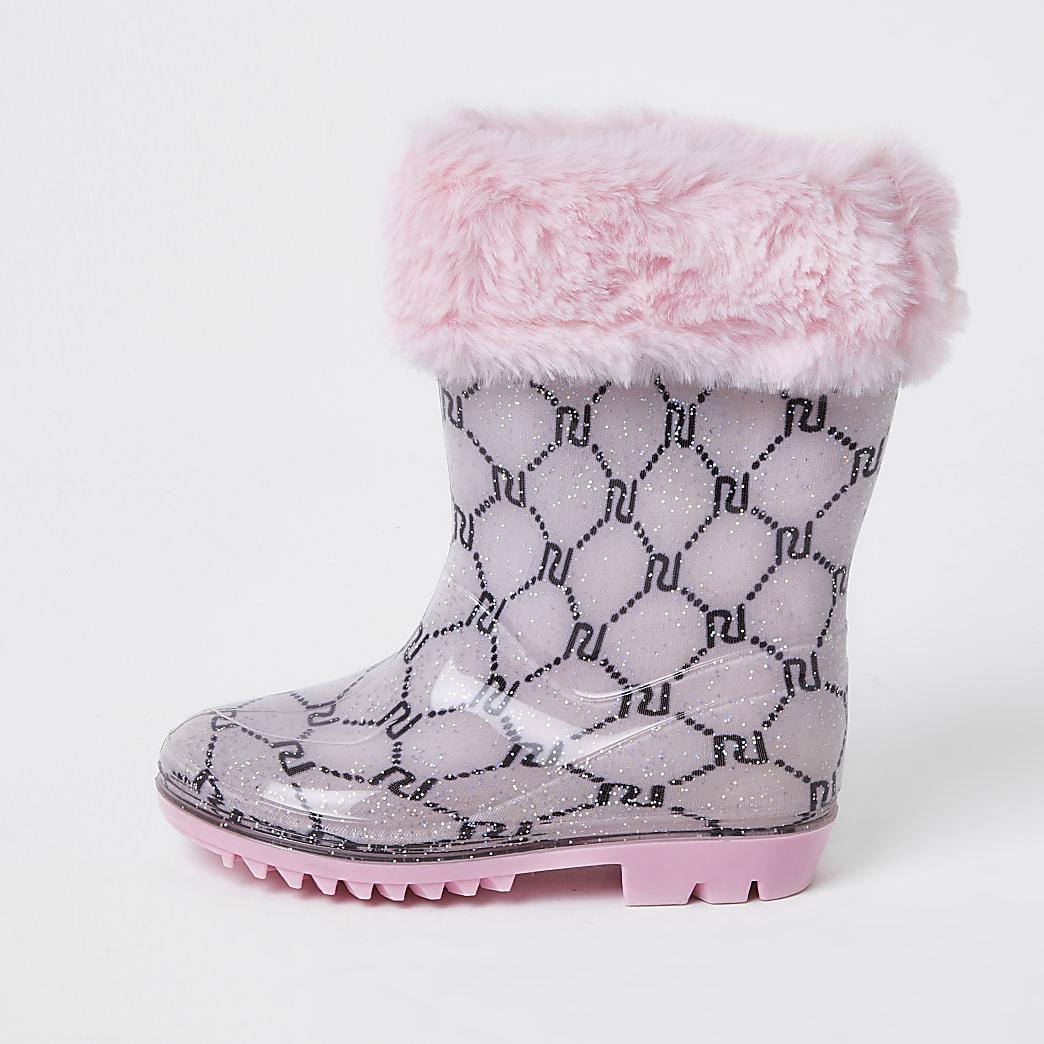 Mini girls pink faux fur monogram welly boot