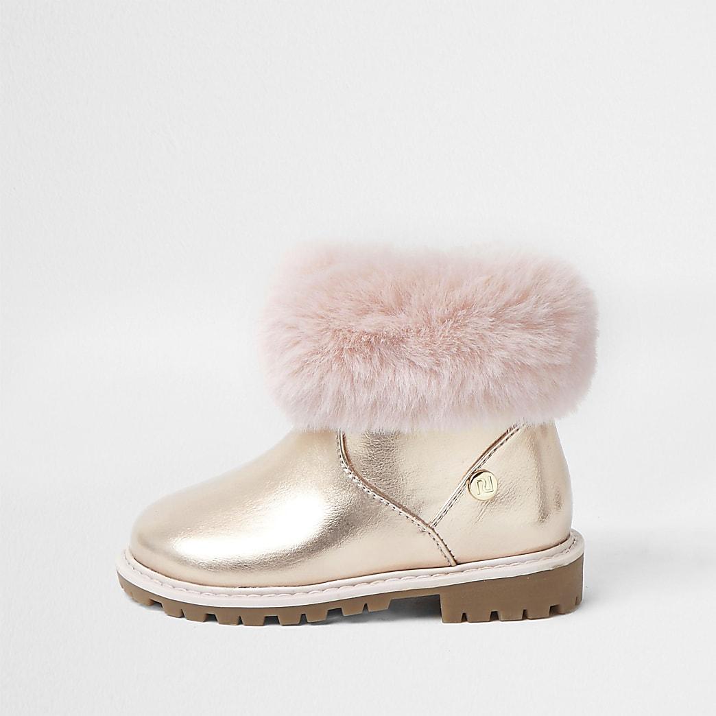 Mini girls pink faux fur trim boots