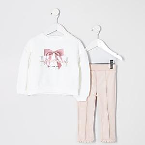 Mini – Outfit mit Leggings aus Kunstleder in Rosa für Mädchen