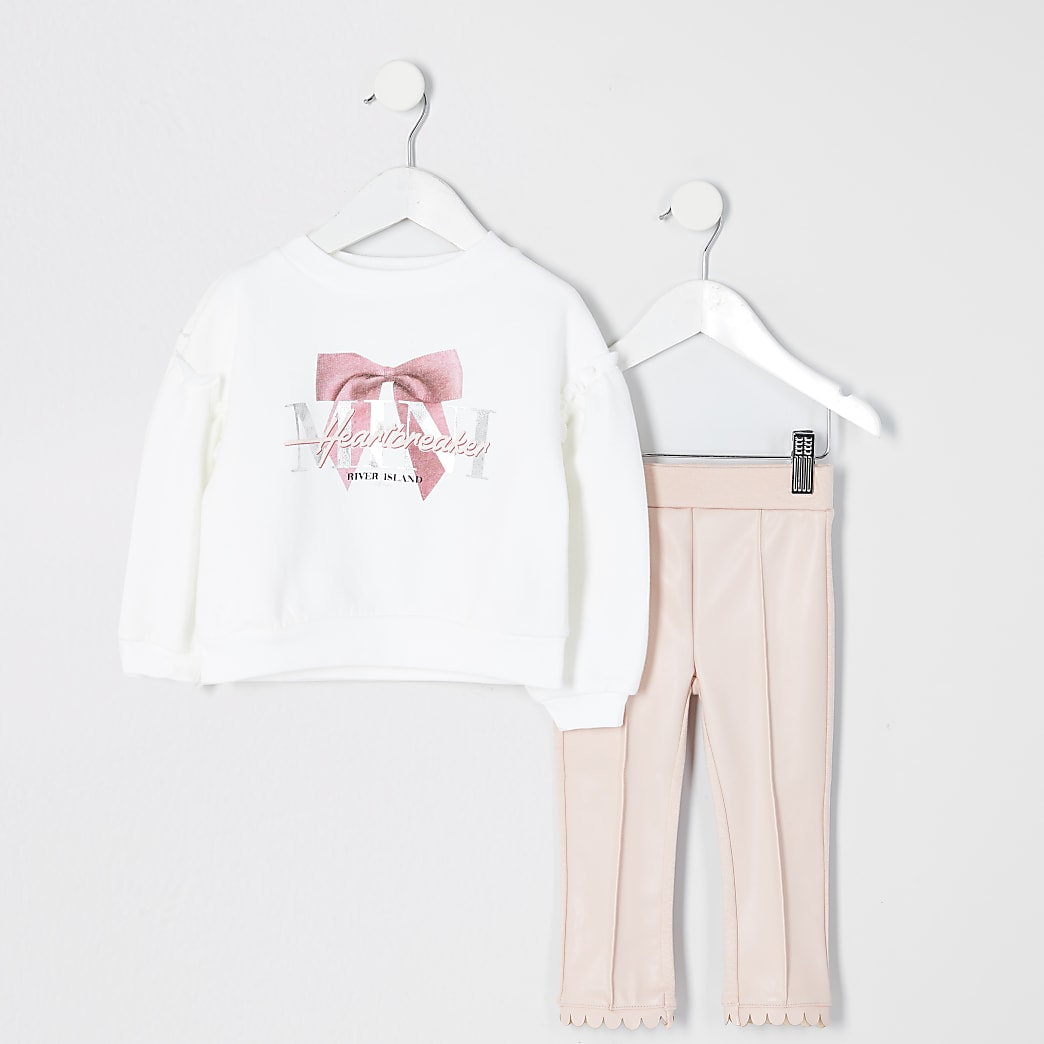Mini girls pink faux leather legging outfit