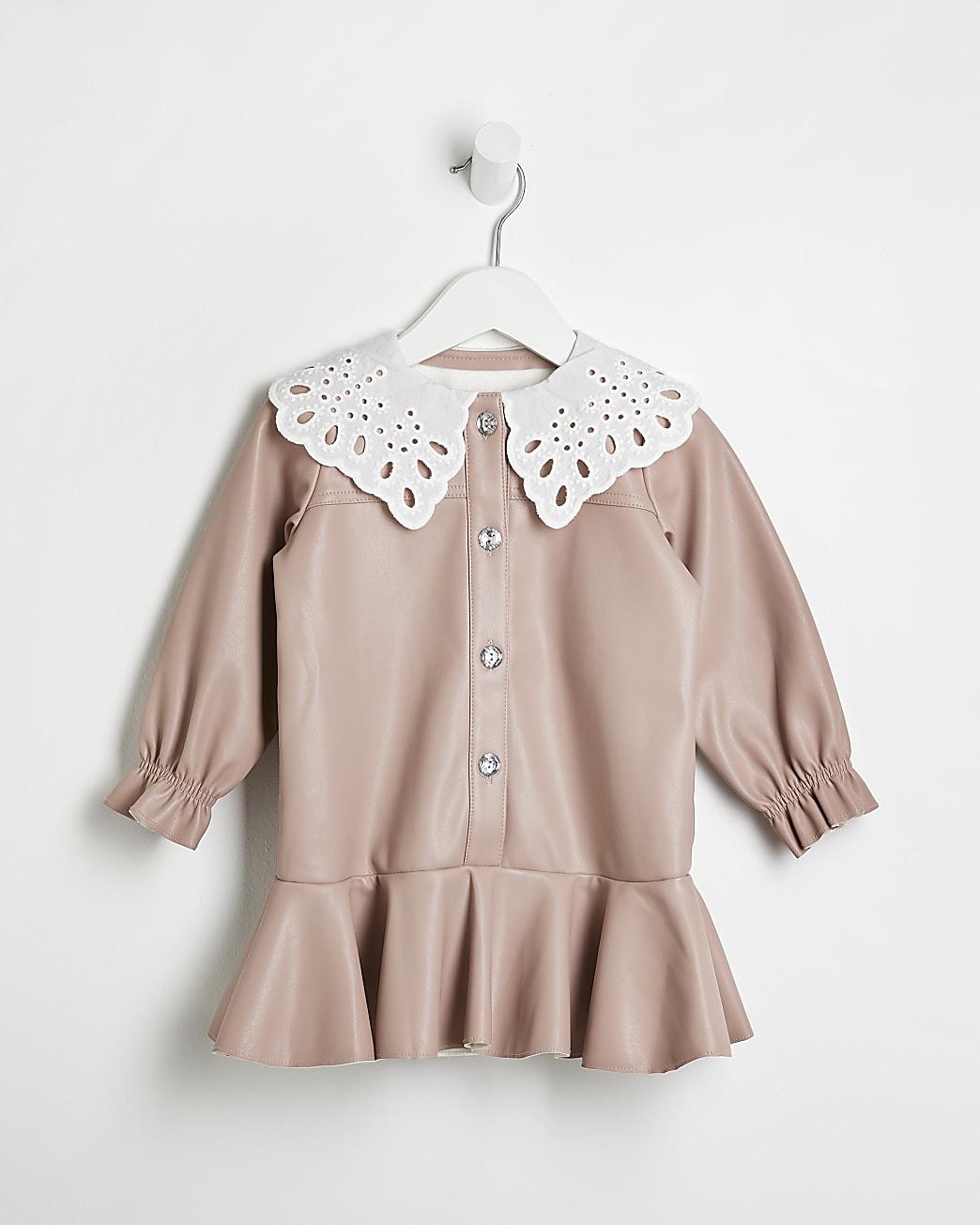 Mini girls pink faux leather shirt dress
