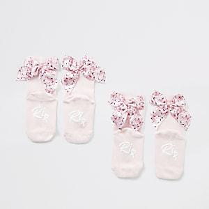 Mini – Socken in Rosa mit Flamingo-Schleifchen für Mädchen, 2er-Pack