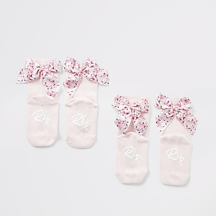 Mini girls pink flamingo bow socks 2 pack