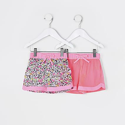 Mini girls pink floral beach shorts 2 pack